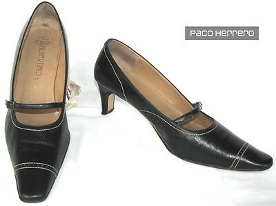 Paco Herrero - Shoes All Leather Black 39.5 - Very Good Condition