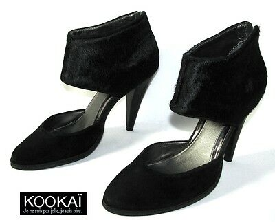 Kookai Court Shoes Heels 11 Cm Leather Suede & Fur Black 40 Excellent Condition