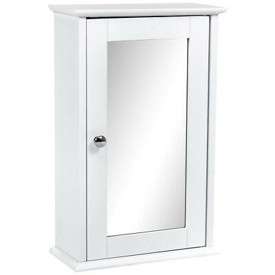 Charles Bentley Cannes Bathroom Single Mirrored Wall Cabinet White Wood