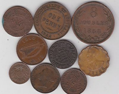 Nine Different World Copper Coins Dated 1750 To 1940 In Fine Or Better Condition