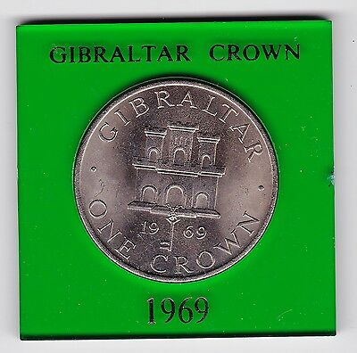 1969 Gibraltar One Crown Coin - Uncirculated And Encased