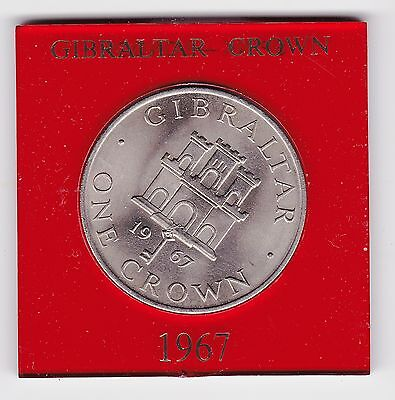 1967 Gibraltar One Crown Coin - Uncirculated And Encased