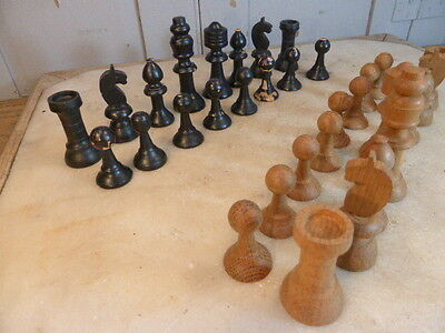 Vintage wooden carved chess and draughts sets in box
