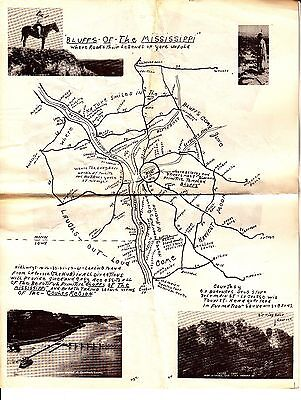 Bluffs of the Mississippi Wisconsin Vintage Tourist Map Boerners Drug Store