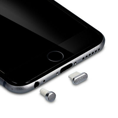 kwmobile DUST PROTECTION SET FOR APPLE IPHONE 6 6 PLUS SILVER PLUG PIN PEG PORT