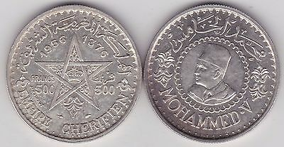 1956/1376 Morocco Silver 500 Francs In Near Mint Condition