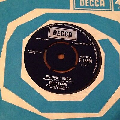 "The Attack - Try It / We Dont Know - Uk Decca 1967 7"" Freakbeat 2-Sider"