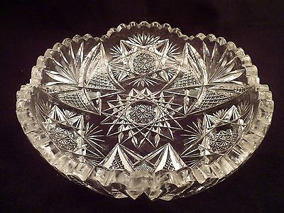 American Brilliant Period Cut Crystal Low Bowl, Antique Glass