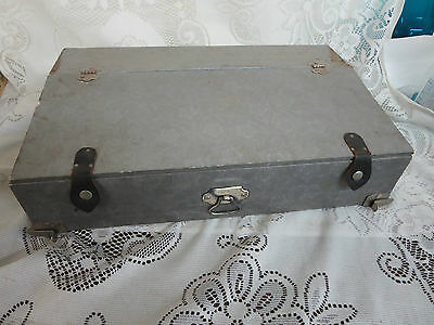 Vintage Tray for Trunk Silver Embossed Fabric Covering