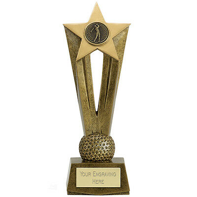 Golfing Golf Golfer Trophy Trophies Star Range 2 Sizes Available Engraved Free