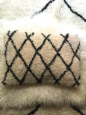 Beni Ouarain Wool Rug Cushion Cover Moroccan Berber Black Off White Ourain