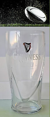GUINNESS RUGBY EDITION - THE REF Pint Glass Embossed Harp Design IRELAND