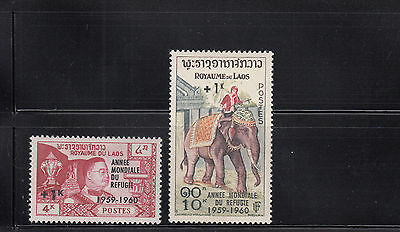 Laos 1960 Refugee Year Sc B4-B5   complete  mint never hinged