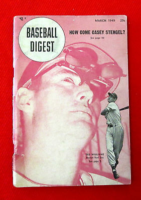 Baseball Digest March 1949 Cover Shot Boston's Ted Williams jmc