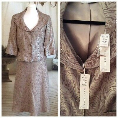 Gina Bacconi New Mother Of The Bride/Races Dress & Jacket Size UK 12 Cost €535
