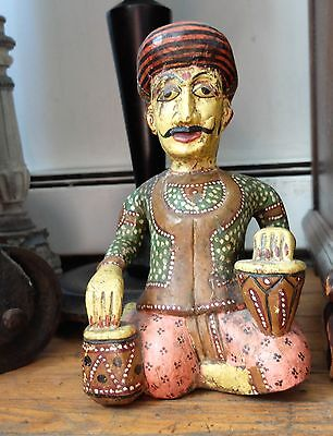 Antique Carved Wood Painted Indian Musician Man Sitting Figurine Drummer India