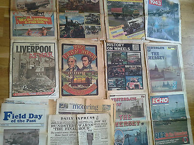 Job Lot Mixed Transport Related Newspapers Old Steam Rally News Liverpool Echo
