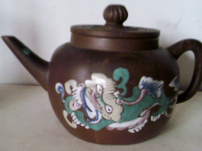 ANTIQUE  19thC CHINESE YIXING ENAMELLED TEAPOT