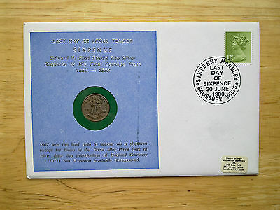 Rare 1980 Coin Cover  Last Day Of The Sixpence  30Th June