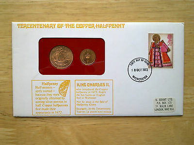 Rare 1972 Coin Cover  Tercentenary Of The Copper   Halfpenny  18Th October
