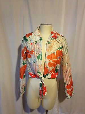 Vintage Large Floral Abstract Crop Top Front Tie Up Blouse Shirt