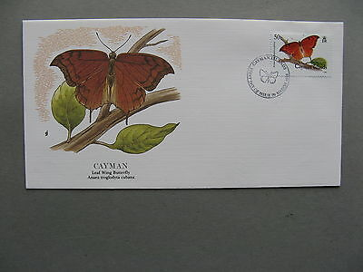 CAYMAN ISLANDS, cover Audubon society  FDC 1988, insect butterfly 50 c