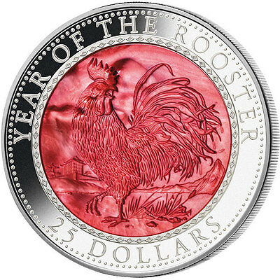 Cook Islands 2017 25$  Lunar 2017 - Year Rooster Mother Pearl Proof Silver Coin