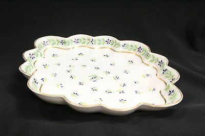 Antique Scalloped Hand Painted Gold Gilt Flowers Dish Asian Mark Crossed Swords