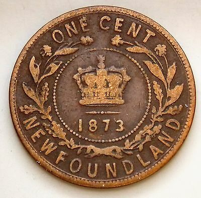 1873 Newfoundland Canada Canadian Large 1 Cent Victoria Coin