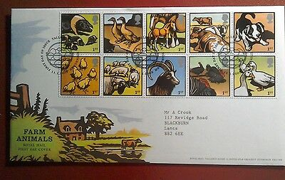 2005 Superb Royal Mail Fdc - Farm Animals Block Of 10 Stamps - Edinburgh