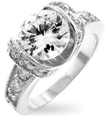 Royal 14K White Gold GB 3.4ct Simulated Diamond Size 5 Engagement Ring G19