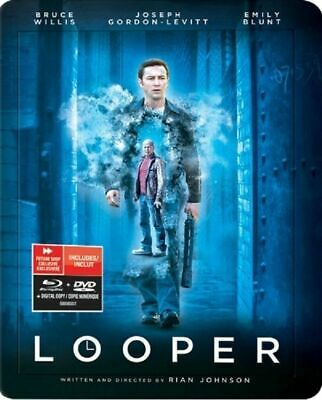 Looper Collectible SteelBook [Blu-ray + DVD + Digital, Region A, 2-Disc] NEW