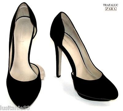 Zara Court Shoes Heels 12.5 Cm Plateau Leather Black Velvet 37 38-
