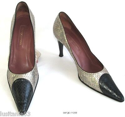 Sergio Rossi Court Shoes Heels 9 Cm Python Gray Beige Black 38.5