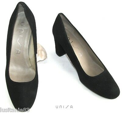 Unisa - Court Shoes Heels 7 Cm All Leather Black Velvet 37 - Very Good Condition