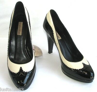 Manoukian Court Shoes Heels 10 Cm Small Plateau Black Leather & Cream 38