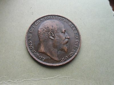 Edward VII, 1902 Penny, Excellent Condition.