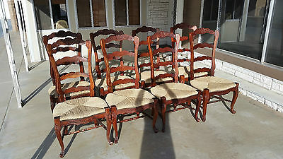 Set of Eight Antique Style Country French Ladderback Dinning Chairs Rush Seats