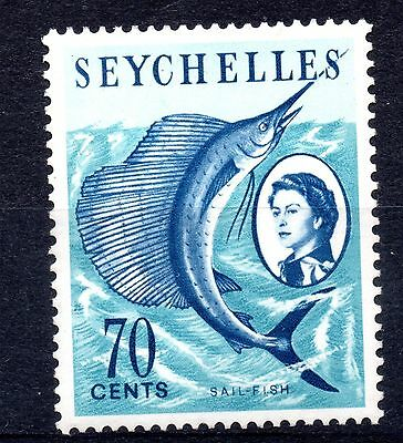 Seychelles (851) 1962  Queen Elizabeth 70 cents Sail Fish used Sg205