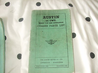 Austin 25 CWT 3 Way Van and Ambulance Chassis Parts List