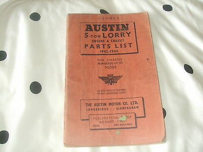 Austin 5 Ton Lorry Engine and Chassis Parts List 1942-1945.