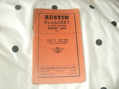 Austin 5 Ton Lorry (4-Litre Engine) Parts List  Series 1