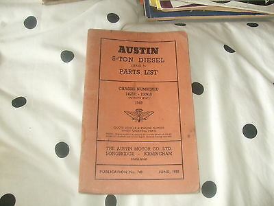 Austin 5 Ton Diesel (Series 1 ) Parts List