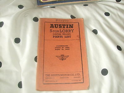 Austin 5 Ton Lorry (4 Litre Engine) Parts List