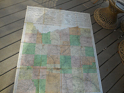 """1911 LARGE MAP OF CATTARAUGUS COUNTY, NEW YORK STATE  w/ADS & Color  40"""" x 50"""""""