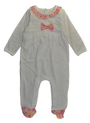 Absorba Infant Girls White W/Floral Print Bow Coverall Size 6/9M