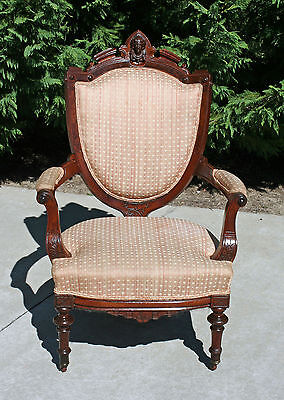 Victorian Walnut & Burl Arm Chair w Ansonia Head Carving circa 1875