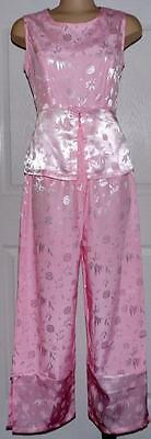 Oriental Silk Outfit Womens Asian Pink Pant Set Sleevelss Top Size XL