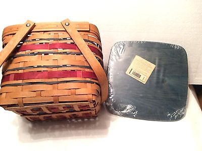 American Celebration Patriotic Picnic Tote Basket and Blue Lid Longaberger new