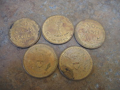 Wonder Wash Car Wash Token Brass + 4 Other Brass Tokens